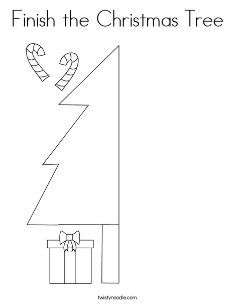 Finish the Christmas Tree Coloring Page