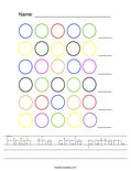 Finish the circle pattern. Worksheet