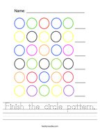 Finish the circle pattern Handwriting Sheet