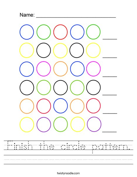 Finish the circle pattern Worksheet