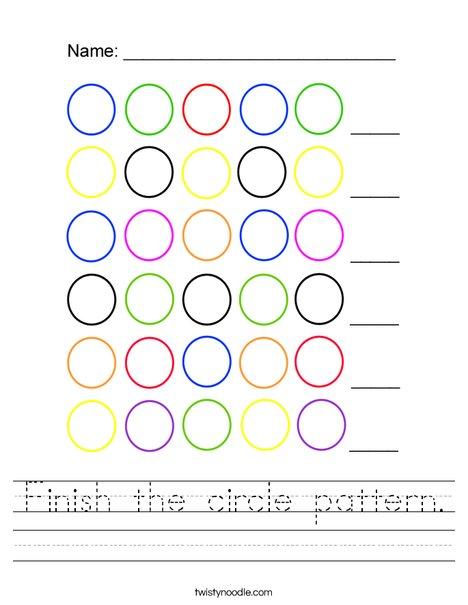 Finish the circle pattern Worksheet
