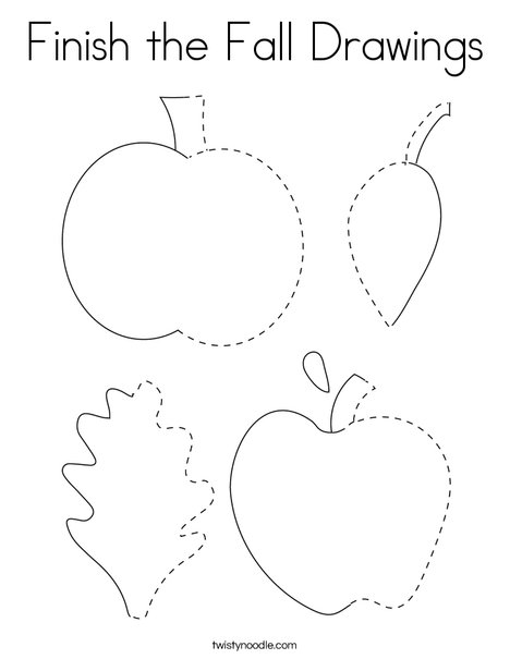 Finish the Fall Drawings Coloring Page