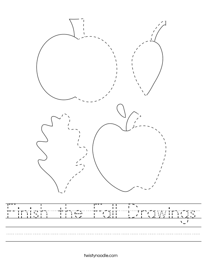 Finish the Fall Drawings Worksheet
