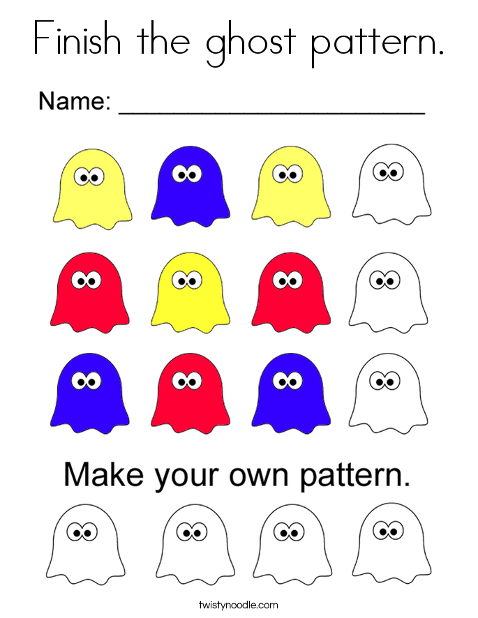 Finish the ghost pattern. Coloring Page