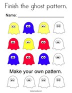 Finish the ghost pattern Coloring Page