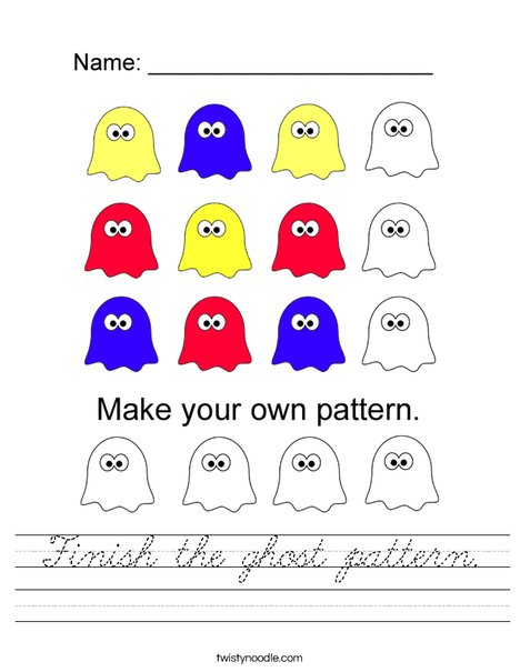Finish the Ghost Pattern Worksheet