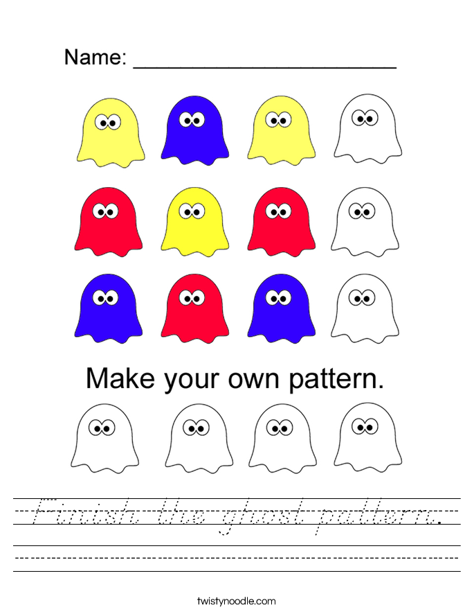 Finish the ghost pattern. Worksheet