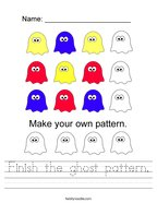Finish the ghost pattern Handwriting Sheet