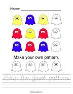 Finish the ghost pattern Handwriting Sheet