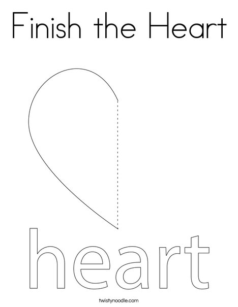 Finish the Heart Coloring Page