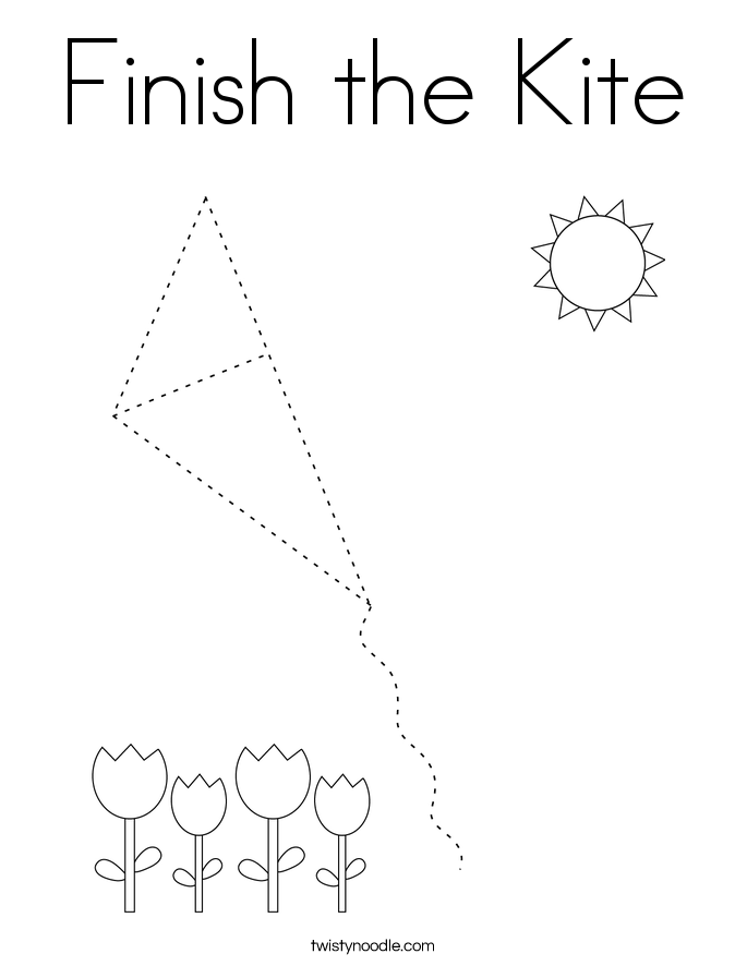 Finish the Kite Coloring Page