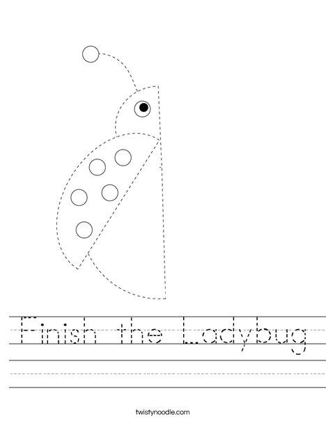 Finish the Ladybug Worksheet