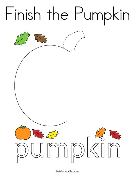 Finish the Pumpkin Coloring Page