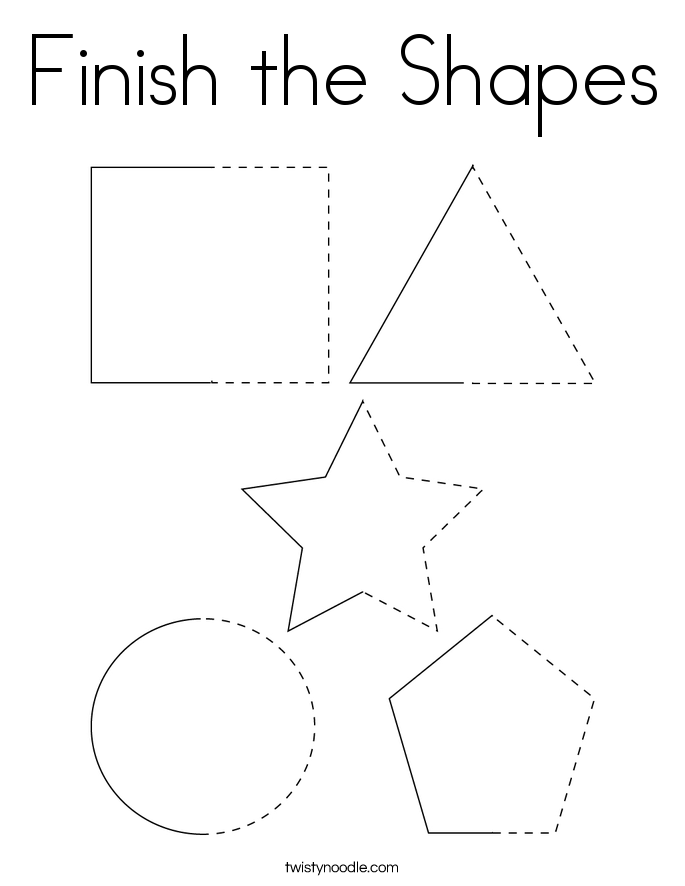 Finish the Shapes Coloring Page