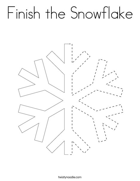 Finish the Snowflake Coloring Page