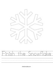 Finish the Snowflake Handwriting Sheet