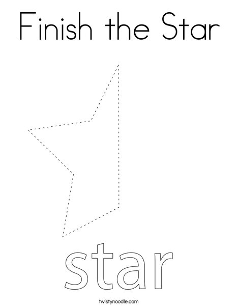 Finish the Star Coloring Page - Twisty Noodle