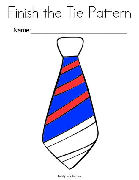 Finish the Tie Pattern Coloring Page