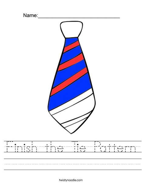 Finish the Tie Pattern Worksheet