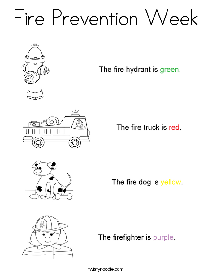 Coloring Pages Printable Fire Safety Week RedCabWorcester – Kindergarten Fire Safety Worksheets