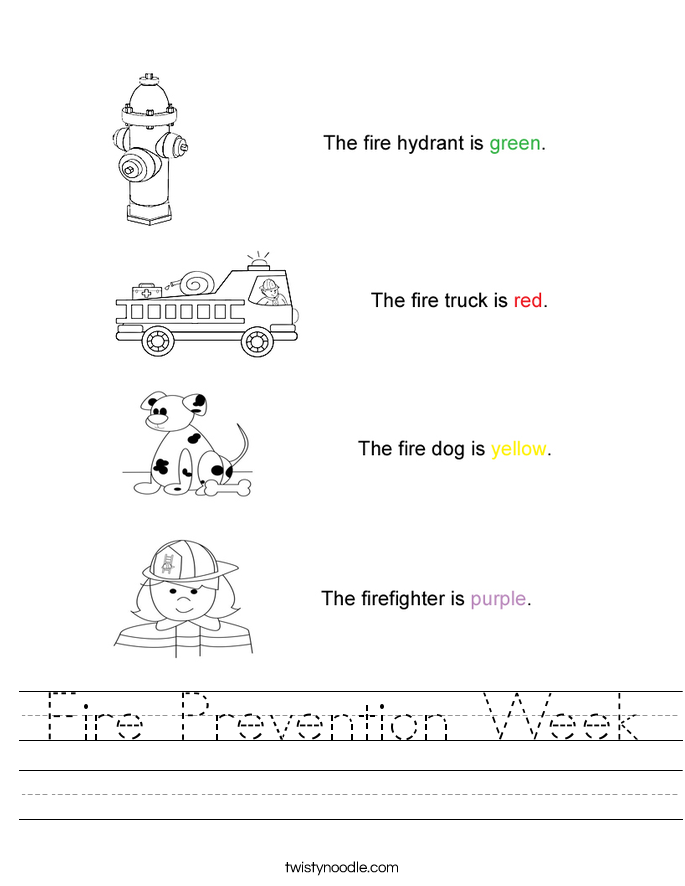Fire Prevention Week Worksheet