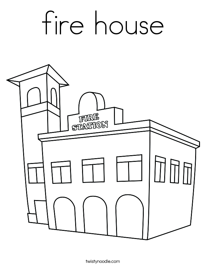 House Coloring Template Fire house coloring page.