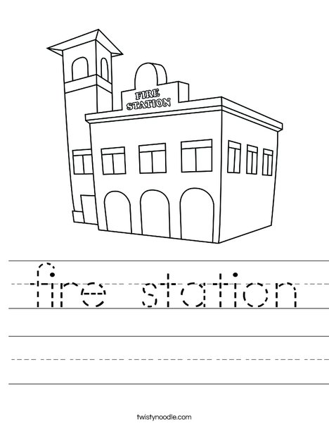 Fire station worksheet twisty noodle for Fire station coloring page