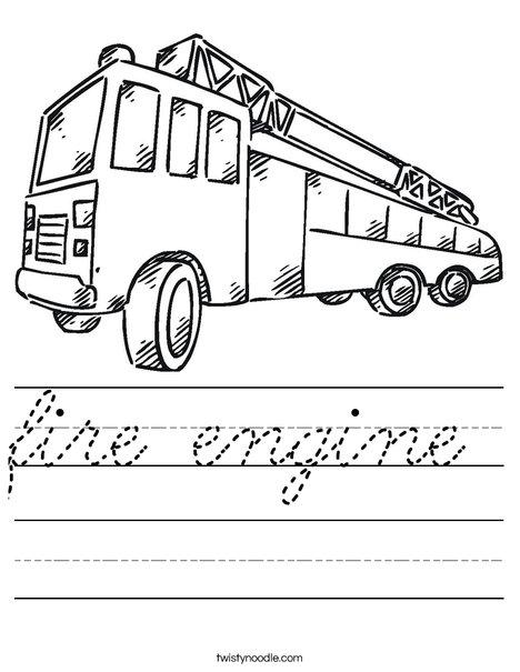 Fire Truck Worksheet