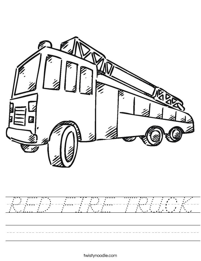 RED FIRE TRUCK Worksheet - D'Nealian - Twisty Noodle