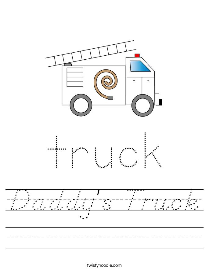 Daddy's Truck Worksheet