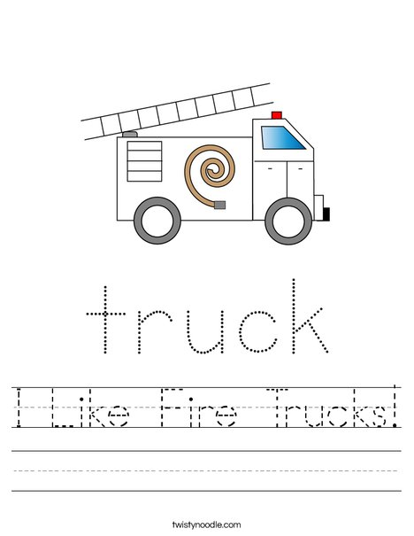 Fire Truck with Ladder Worksheet
