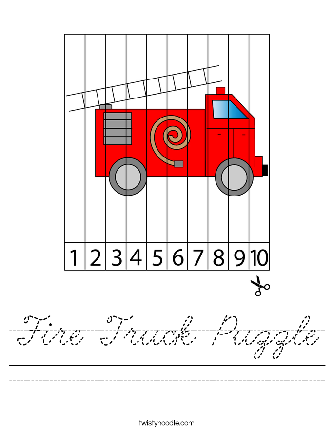 Fire Truck Puzzle Worksheet
