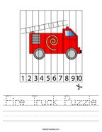 Fire Truck Puzzle Handwriting Sheet