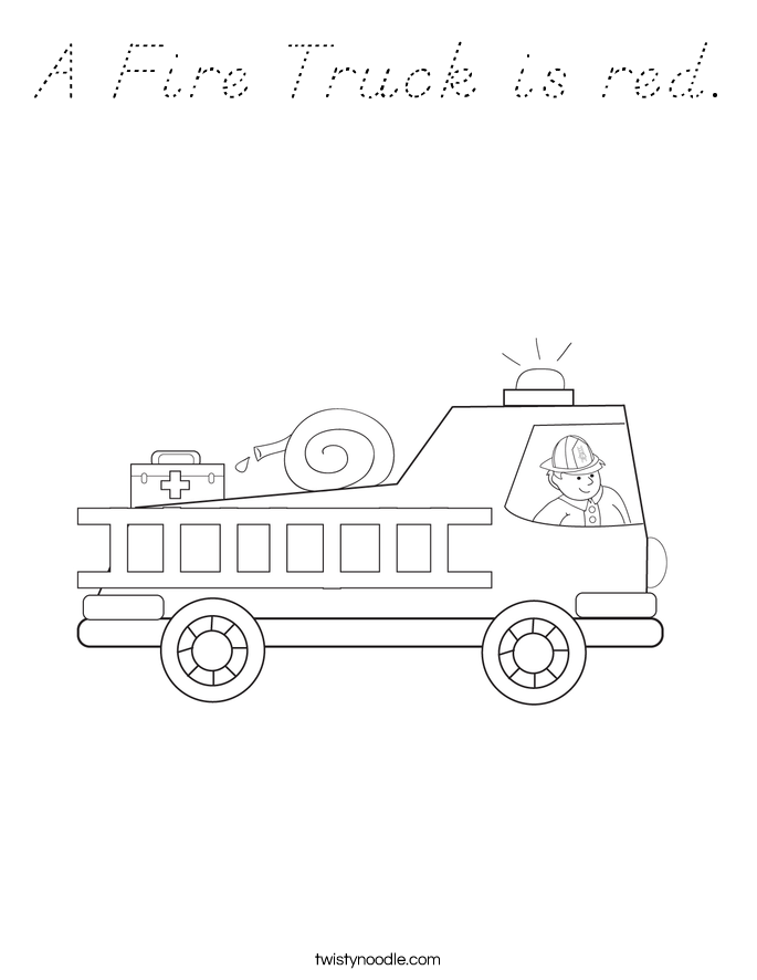 A Fire Truck is red. Coloring Page