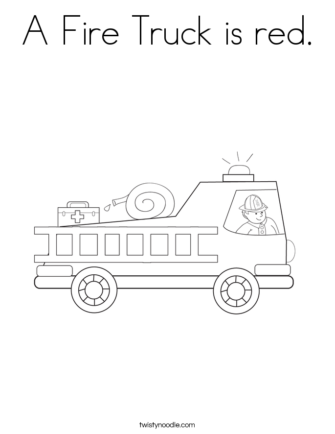 a fire truck is red coloring page
