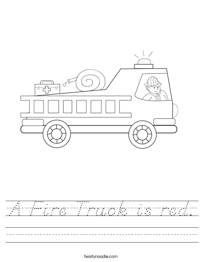 A Fire Truck is red. Worksheet