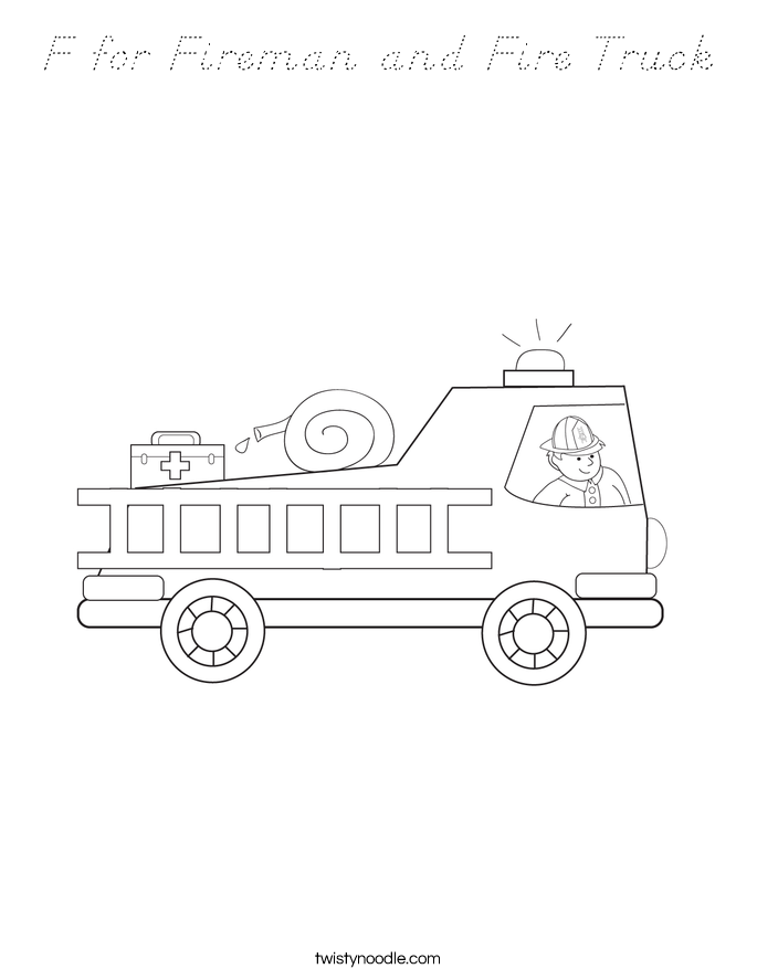F for Fireman and Fire Truck Coloring Page