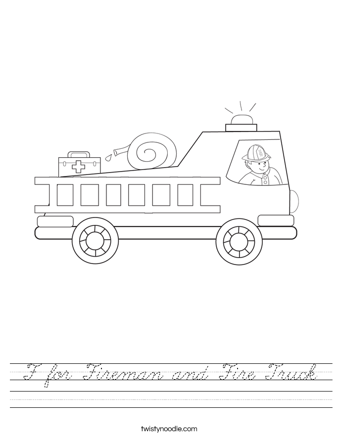 F for Fireman and Fire Truck Worksheet