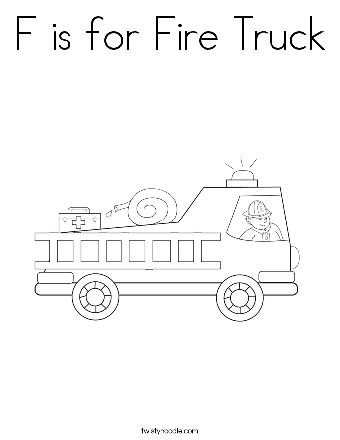 F is for Fire Truck Coloring Page