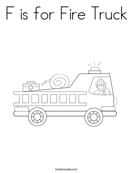 F is for Fire Truck Coloring Page Twisty Noodle