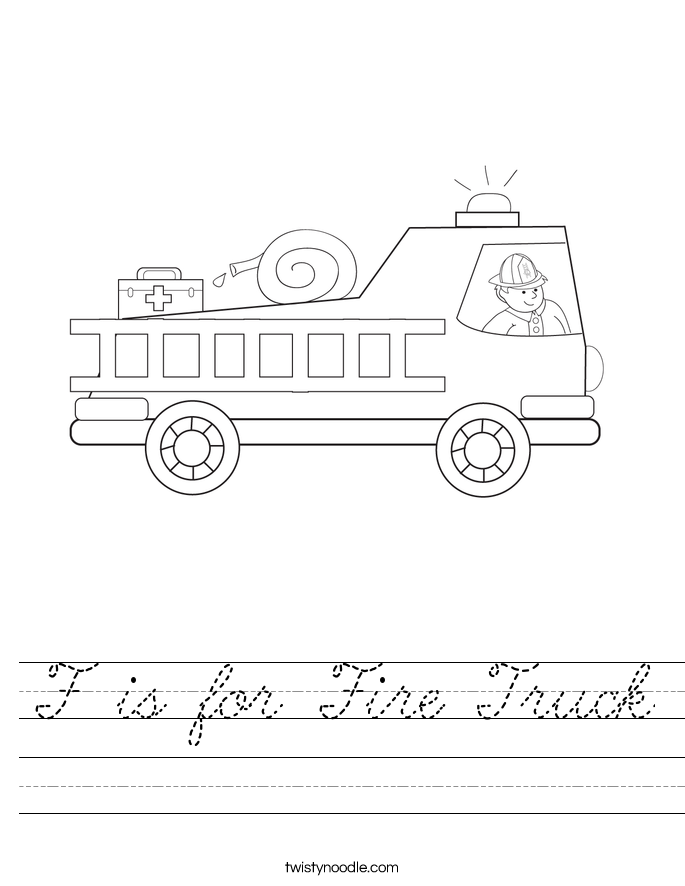 f is for fire truck worksheet cursive twisty noodle. Black Bedroom Furniture Sets. Home Design Ideas