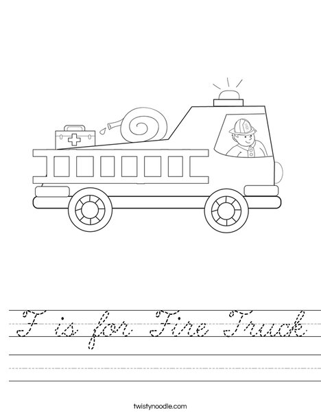 Fire Truck with Firefighter Worksheet