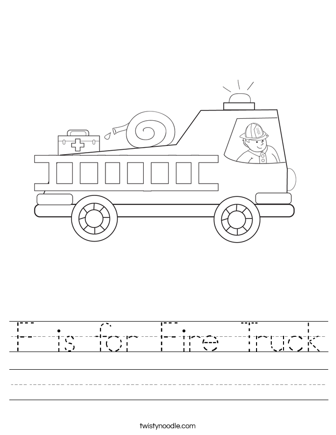 F is for Fire Truck Worksheet