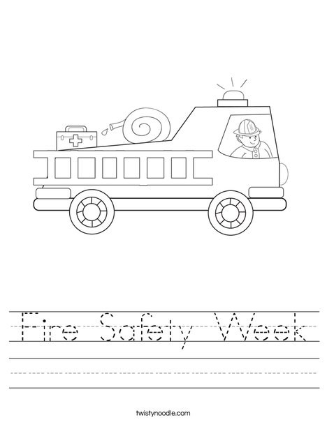 Printables Fire Safety Worksheets fire safety week worksheet twisty noodle truck with firefighter worksheet