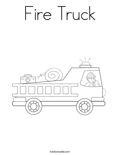 Fire Truck With Firefighter Coloring Page