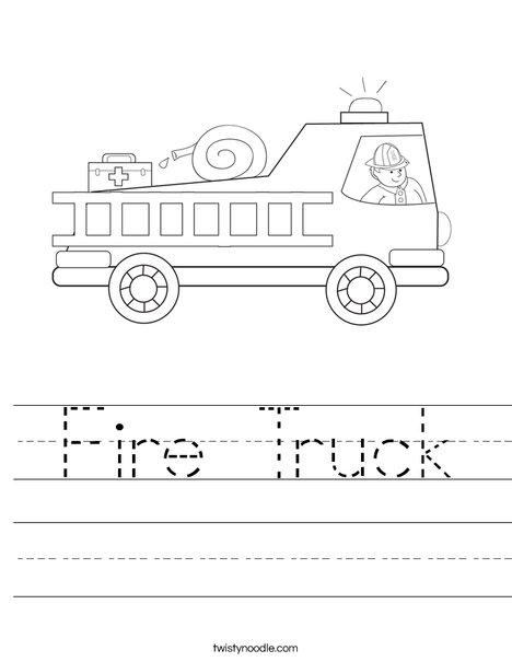fire truck worksheet twisty noodle. Black Bedroom Furniture Sets. Home Design Ideas