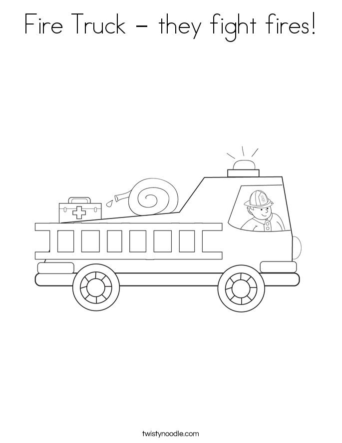 Fire Truck - they fight fires! Coloring Page