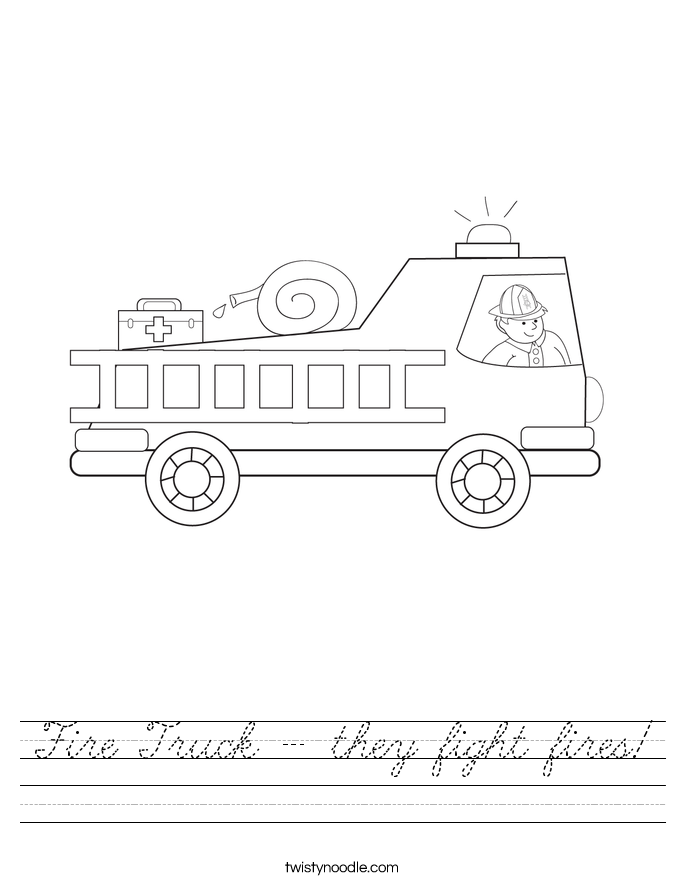Fire Truck - they fight fires! Worksheet