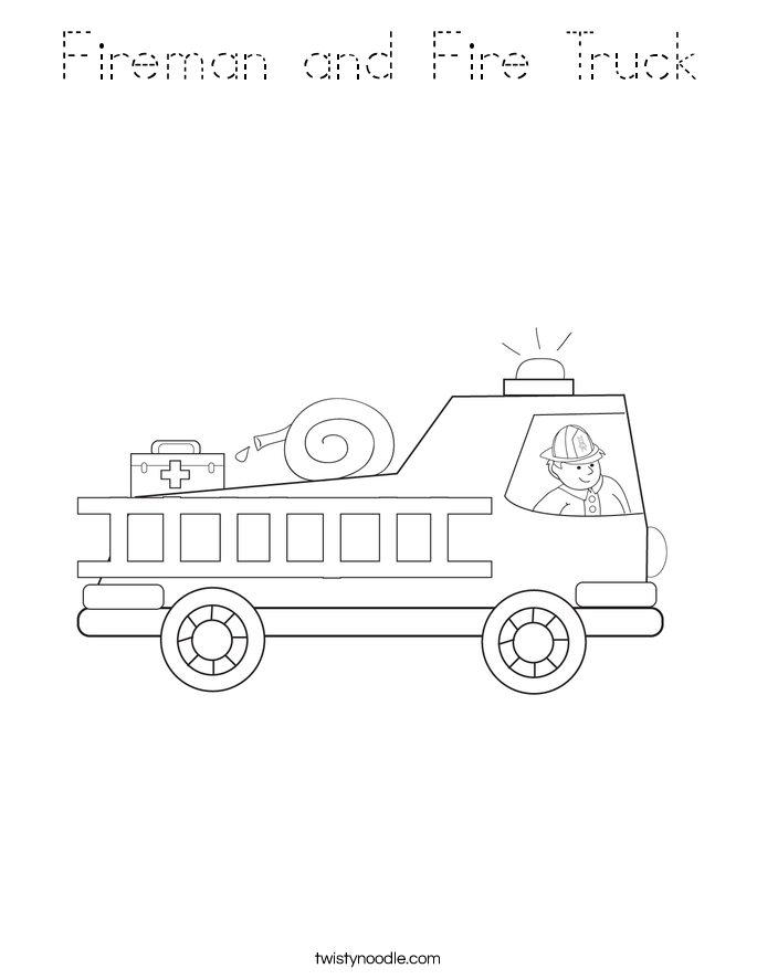 Fireman and Fire Truck Coloring Page