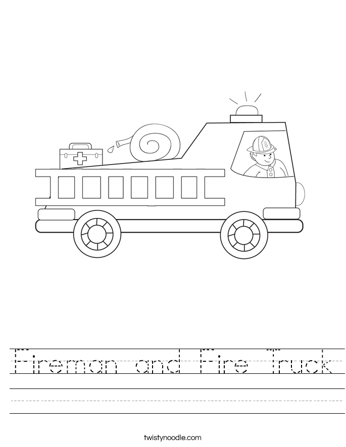Fireman and Fire Truck Worksheet